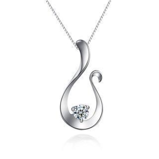 18k White Gold Diamond Solitaire Open Teardrop Pendant Necklace (0.09 Ct) (free 925 Silver Box Chain, 16)