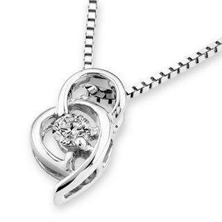 18k White Gold Double Heart Diamond Solitaire Pendant (1/10 Cttw) (free 925 Silver Box Chain)