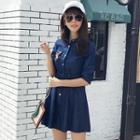 Elbow-sleeve Denim Shirt Dress