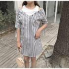 Elbow-sleeve Striped Mock Two Piece A-line Dress
