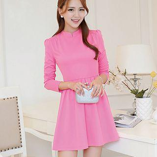 Stand Collar Long Sleeve A-line Dress