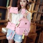 Set : Faux Leather Backpack + Shoulder Bag + Clutch + Wallet