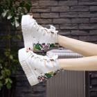 Print Platform Hidden Wedge Sandals