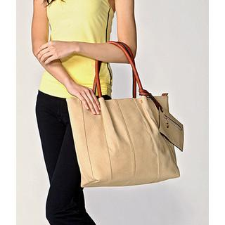 Stitched Tote With Pouch Khaki - One Size