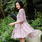A-line Floral Chiffon Dress