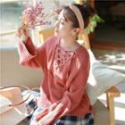 Wide Long-sleeve Lace-up Rib Knit Sweater