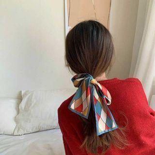 Plaid Color Panel Silk Scarf As Shown In Figure - One Size