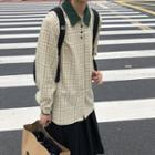 Long-sleeve Plaid Polo Shirt Plaid - Khaki - One Size