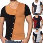 Short-sleeve Color Block Buttoned Top