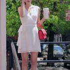 Sleeveless Chiffon Dress White - One Size