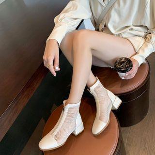 Mesh Panel Zip Chunky Heel Short Boots