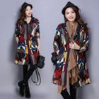 Printed Hooded Long Coat