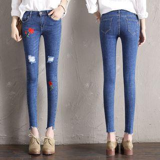 Embroidered Distressed Skinny Jeans