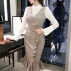 Mock Two-piece Long-sleeve Wrapped Pencil Midi Dress