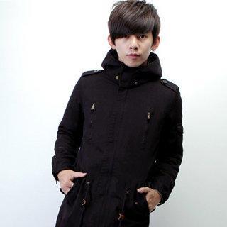 Faux-fur Hooded Drawstring-waist Coat
