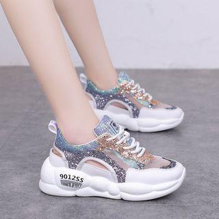 Sequined Lace Up Platform Sneaker Sandals