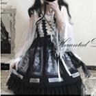 Lace-up Printed Midi Pinafore Dress