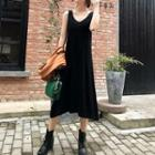 Sleeveless Midi Knit Dress Black - One Size