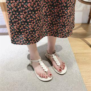 Heart Print Ankle-strap Flip-flops