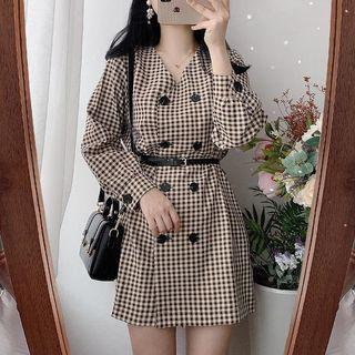 Long-sleeve Double-breasted Plaid Mini A-line Dress