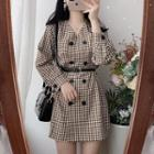 Long-sleeve Double-breasted Plaid Mini A-line Dress