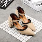 Frill Trim Pointy Pumps