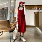 Sleeveless Corduroy Midi Dress