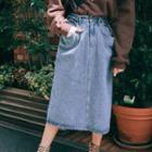 Denim Midi Skirt As Shown In Figure - One Size