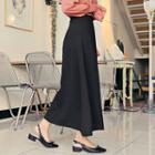 Zip-back Flare Long Skirt