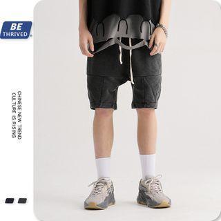 Washed Paneled Shorts