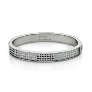 White Pyramid Bangle(l) Steel - One Size