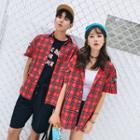 Couple Matching Short-sleeve Plaid Shirt
