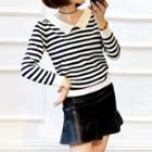 Striped Collared Knit Top