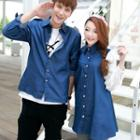 Couple Matching Chiffon Panel Denim Shirt/ Denim Shirt