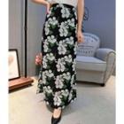 Floral Print Maxi Chiffon Skirt
