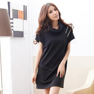 Studded Cowl-neck Short-sleeve Shift Dress
