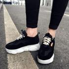 Faux Leather Lace-up Platform Hidden Wedge Sneakers