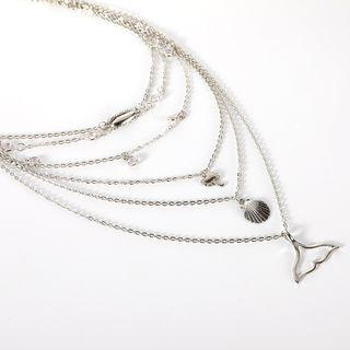 Alloy Whale Tail & Shell Pendant Choker Necklace Silver - One Size