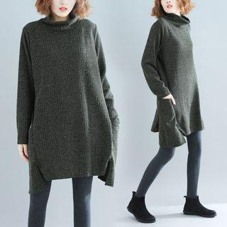 Pocket Detail Turtleneck Long-sleeve Knit Dress Grayish Blue - One Size