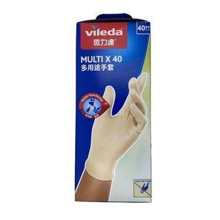 Vileda - Mulit-purpose Disposable Latex Gloves, 40pcs 1 Pack (40pcs)