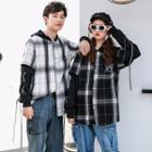 Couple Matching Mock Two-piece Plaid Buttoned Hooded Top