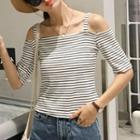Striped Off Shoulder Elbow Sleeve Top