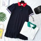 Short-sleeve Color-block Collared Dress