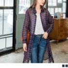See-through Plaid Long Shirt