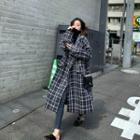 Plaid Single Breasted Long Wool Coat