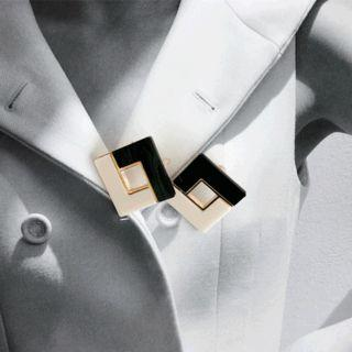Color-block Square Earrings Black - One Size
