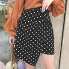 Asymmetric Hem Dotted Mini A-line Skirt