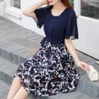 Tie-waist Printed Panel Chiffon Dress
