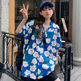 Elbow-sleeve Floral Print Shirt Blue & White - One Size