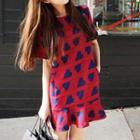 Short-sleeved Heart Print Dress